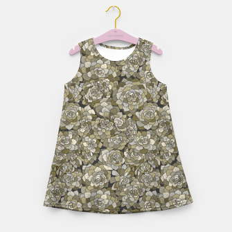 Miniatur Succulents garden in green grey Girl's summer dress, Live Heroes