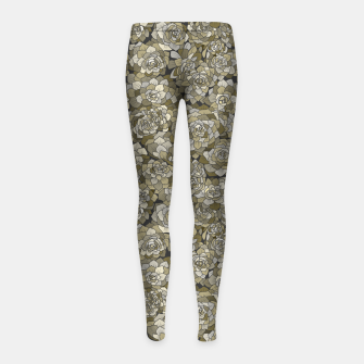 Miniatur Succulents garden in green grey Girl's leggings, Live Heroes