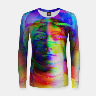 Thumbnail image of Glitch art colourful rainbow woman portrait Women sweater, Live Heroes