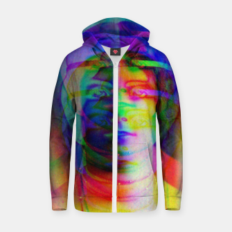 Imagen en miniatura de Glitch art colourful rainbow woman portrait Zip up hoodie, Live Heroes