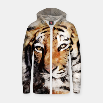 Thumbnail image of Watercolour tiger portrait Zip up hoodie, Live Heroes