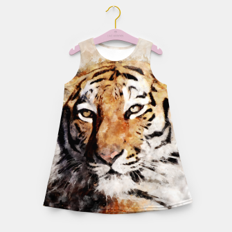 Imagen en miniatura de Watercolour tiger portrait Girl's summer dress, Live Heroes
