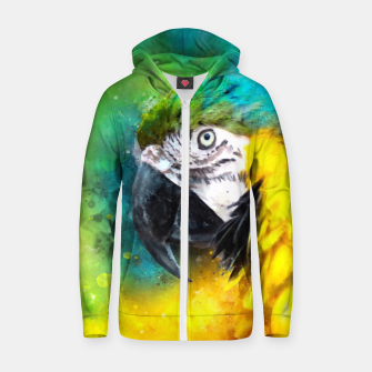 Imagen en miniatura de Watercolor Macaw Parrot Watercolour Painting Zip up hoodie, Live Heroes