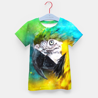 Imagen en miniatura de Watercolor Macaw Parrot Watercolour Painting Kid's t-shirt, Live Heroes