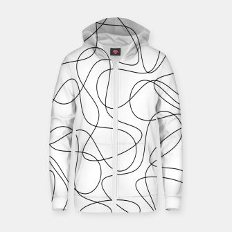 Abstract pattern - black and white. Zip up hoodie thumbnail image