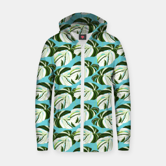 Thumbnail image of Summer Monstera II Zip up hoodie, Live Heroes