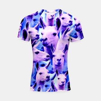 Thumbnail image of Llama Alpaca Pink Purple Cute Funny Animal Shortsleeve rashguard, Live Heroes