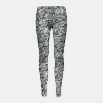 Miniatur Succulents garden in stone grey Girl's leggings, Live Heroes