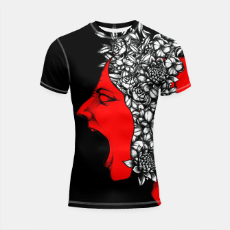 Thumbnail image of Red Scream Shortsleeve rashguard, Live Heroes