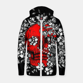 Thumbnail image of Red Skull Zip up hoodie, Live Heroes