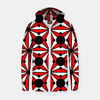 Miniatur Abstract geometric pattern - red, black and white. Zip up hoodie, Live Heroes