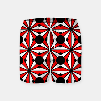Miniatur Abstract geometric pattern - red, black and white. Swim Shorts, Live Heroes