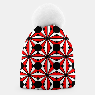 Miniatur Abstract geometric pattern - red, black and white. Beanie, Live Heroes