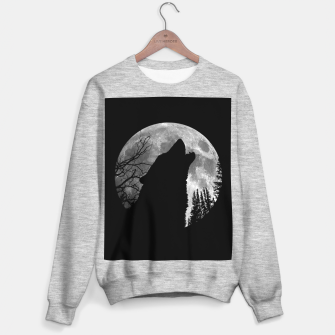 Miniaturka Wild Wolf Howling to the Full Moon Galaxy  Sweater regular, Live Heroes