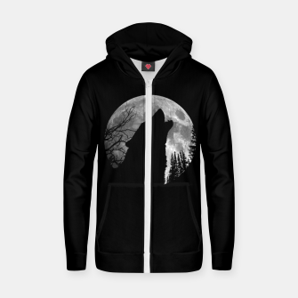 Miniaturka Wild Wolf Howling to the Full Moon Galaxy  Zip up hoodie, Live Heroes