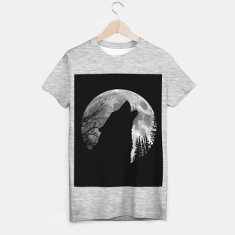 Miniaturka Wild Wolf Howling to the Full Moon Galaxy  T-shirt regular, Live Heroes