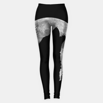 Miniaturka Wild Wolf Howling to the Full Moon Galaxy  Leggings, Live Heroes
