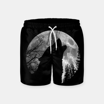 Miniaturka Wild Wolf Howling to the Full Moon Galaxy  Swim Shorts, Live Heroes
