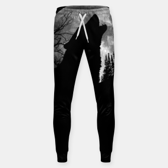 Miniaturka Wild Wolf Howling to the Full Moon Galaxy  Sweatpants, Live Heroes