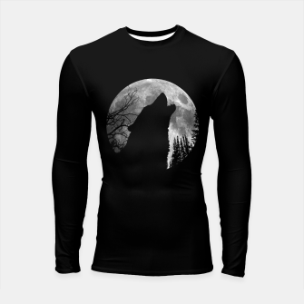 Thumbnail image of Wild Wolf Howling to the Full Moon Galaxy  Longsleeve rashguard , Live Heroes