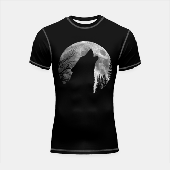 Miniaturka Wild Wolf Howling to the Full Moon Galaxy  Shortsleeve rashguard, Live Heroes
