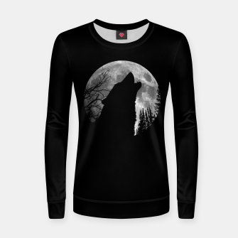 Miniaturka Wild Wolf Howling to the Full Moon Galaxy  Women sweater, Live Heroes