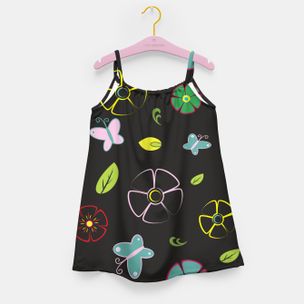 Thumbnail image of Flowers garden on black Vestido para niñas, Live Heroes
