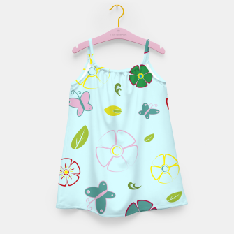 Thumbnail image of Flowers garden on blue Vestido para niñas, Live Heroes