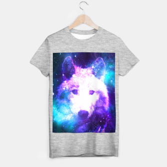 Miniaturka Galaxy Wolf Star White Colorful Animal Wildlife Nature T-shirt regular, Live Heroes