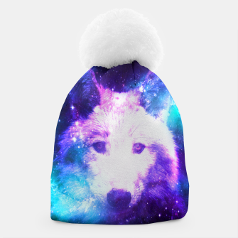 Miniaturka Galaxy Wolf Star White Colorful Animal Wildlife Nature Beanie, Live Heroes