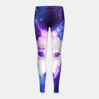 Miniaturka Galaxy Wolf Star White Colorful Animal Wildlife Nature Girl's leggings, Live Heroes