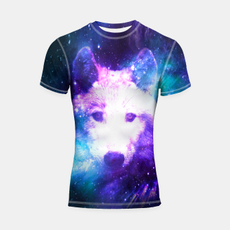 Miniaturka Galaxy Wolf Star White Colorful Animal Wildlife Nature Shortsleeve rashguard, Live Heroes