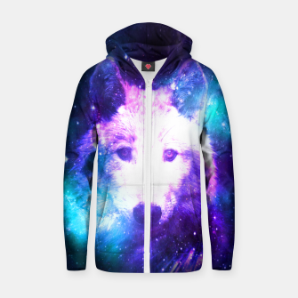Miniaturka Galaxy Wolf Star White Colorful Animal Wildlife Nature Zip up hoodie, Live Heroes