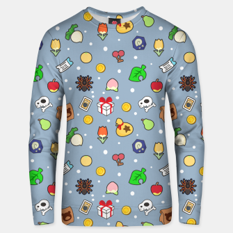 Miniatur animal crossing cute pattern blue Sudadera unisex, Live Heroes