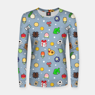 Miniatur animal crossing cute pattern blue Sudadera para mujeres, Live Heroes