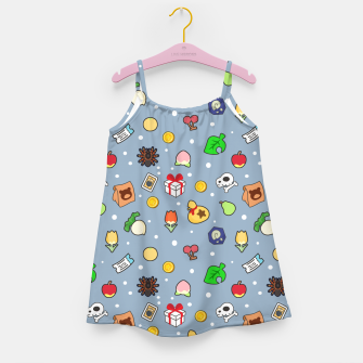 Thumbnail image of animal crossing cute pattern blue Vestido para niñas, Live Heroes