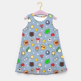 Miniatur animal crossing cute pattern blue Vestido de verano para niñas, Live Heroes