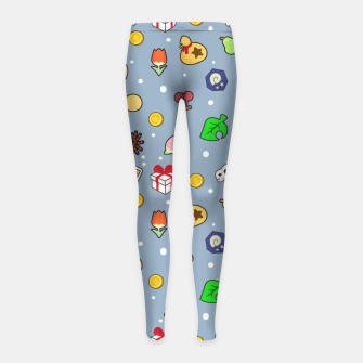 Miniatur animal crossing cute pattern blue Leggings para niña, Live Heroes