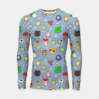 Miniatur animal crossing cute pattern blue Longsleeve rashguard, Live Heroes