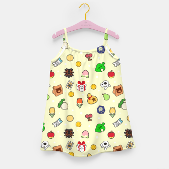 Thumbnail image of animal crossing cute pattern yellow Vestido para niñas, Live Heroes