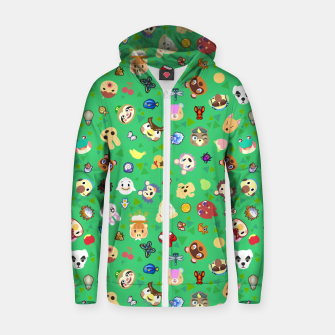 Thumbnail image of animal crossing cute villagers grass pattern Sudadera con capucha y cremallera , Live Heroes