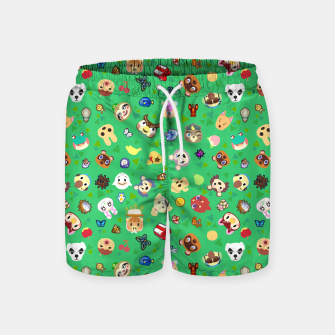 Thumbnail image of animal crossing cute villagers grass pattern Pantalones de baño, Live Heroes