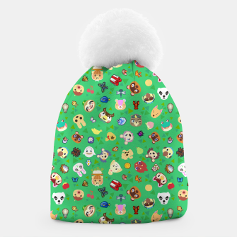 Thumbnail image of animal crossing cute villagers grass pattern Gorro, Live Heroes