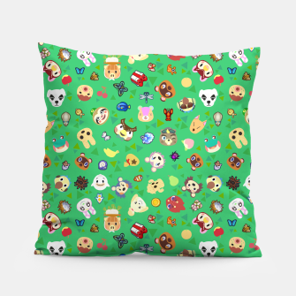 Thumbnail image of animal crossing cute villagers grass pattern Almohada, Live Heroes