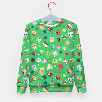 Thumbnail image of animal crossing cute villagers grass pattern Sudadera para niños, Live Heroes