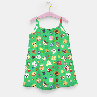 Thumbnail image of animal crossing cute villagers grass pattern Vestido para niñas, Live Heroes