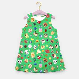Thumbnail image of animal crossing cute villagers grass pattern Vestido de verano para niñas, Live Heroes