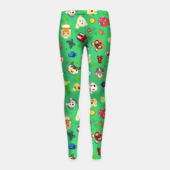 Thumbnail image of animal crossing cute villagers grass pattern Leggings para niña, Live Heroes