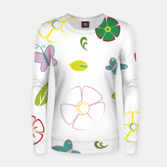 Flowers garden on white Sudadera para mujeres miniature