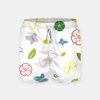 Flowers garden on white Pantalones de baño miniature